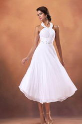 A-Line Tea-Length Halter Chiffon Wedding Dress With Crystal Detailing