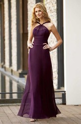 High-Neck Long Bridesmaid Dress With Illusion Style And Pleats