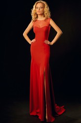 Sheath Sleeveless Maxi Scoop Split-Front Jersey Prom Dress With Illusion Back And Beading