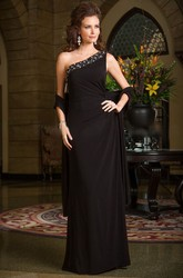 One-Shoulder Long Mother Of The Bride Dress With Crystal Neckline And Shawl
