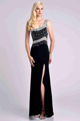 Side Slit One-Shoulder Jersey Sheath Prom Dress With Crystal Top