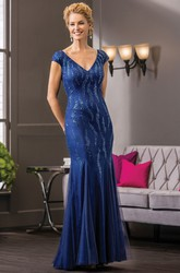 Cap-Sleeved V-Neck Mermaid Mother Of The Bride Dress With Sequins And V-Back