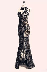 Sleeveless Open Back Zipper Bateau Lace Sexy Modern Bodycon Floor-length Lace Evening Dress