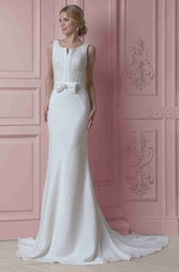 Sheath Sleeveless Scoop-Neck Beaded Long Satin Wedding Dress With Bow