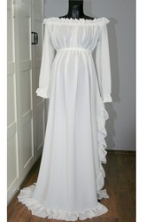 A Line Sweep Brush Train Long Sleeve Empire Maternity Wedding Dress
