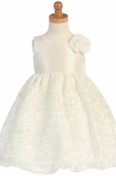 Tea-Length Floral Tiered Empire Tulle&Taffeta Flower Girl Dress With Embroidery