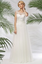 A-Line Sleeveless Floor-Length Bateau-Neck Lace Tulle&Satin Wedding Dress With Pleats