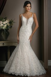 V-neck Mermaid Wedding Dress with Spaghetti Straps and Deep V-back