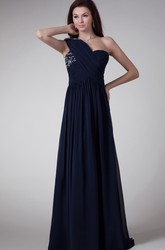 One-Shoulder A-Line Chiffon Maxi Formal Dress with Crystal Detailing