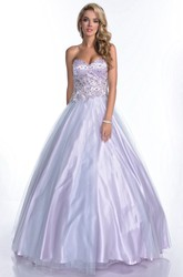 Sweetheart A-Line Tulle Prom Dress With Glimmering Rhinestone Bodice