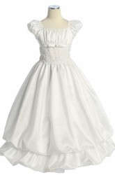 Ankle-Length Split-Front Bowed Lace Flower Girl Dress With Ribbon