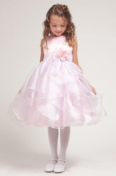 Tea-Length Split-Front Bowed Organza&Satin Flower Girl Dress