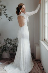 Plunging V-neck Sexy Sheath Lace Bridal Gown With Long Sleeves And Keyhole Back
