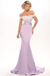 Mermaid Off-The-Shoulder Appliqued Jersey Prom Dress With Brush Train