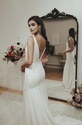 Sexy Mermaid V-neck Satin Wedding Gown With Train And Deep V-back