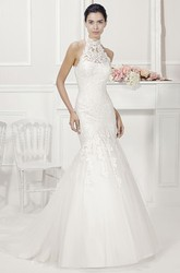 Halter Lace Mermaid Bridal Gown With Tulle Skirt