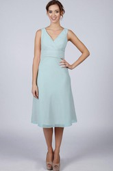 Light Blue Classic Short Bridesmaid Prom Dress