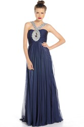 Straps Maxi Beaded Chiffon Prom Dress With Pleats