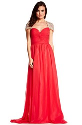 A-Line Cap-Sleeve Sweetheart Maxi Criss-Cross Chiffon Prom Dress With Keyhole Back And Beading