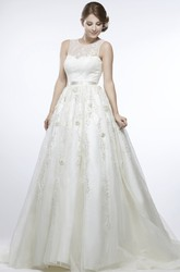 Scoop Long Floral Appliqued Tulle Wedding Dress With Court Train And Illusion