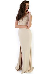 Split-Front V-Neck Cap Sleeve Chiffon Prom Dress