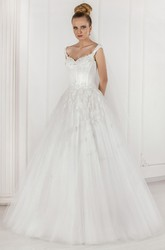 Ball-Gown Appliqued Floor-Length Sleeveless Tulle Wedding Dress With Pleats And Beading