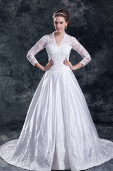 Modest Scalloped-Neck 3 4 Sleeves A-line Lace Wedding Gown with Court Train