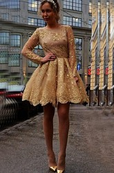 Vintage Gold Sequins Lace A-Line Short Dresses