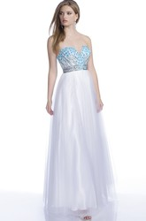 Sweetheart A-Line Sleeveless Prom Dress Featuring Floral Embroidery And Open Back