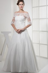 Half Sleeves Off-The-Shoulder A-Line Lace Wedding Gown with Appliques