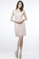 Short V-Neck Ruched Chiffon Bridesmaid Dress With Draping