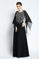 Floor-length Long Sleeve A-Line Jewel Chiffon Prom Dress with Beading and Pleats