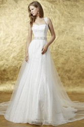 Long Straps Appliqued Tulle Wedding Dress With Waist Jewellery And Illusion