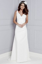 Sheath V-Neck Floor-Length Sleeveless Appliqued Wedding Dress With Beading