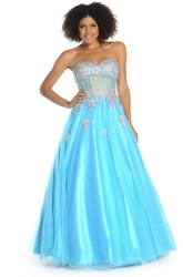 A-Line Sleeveless Sweetheart Beaded Floor-Length Tulle&Satin Prom Dress With Pleats