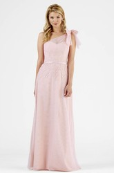 One-Shoulder Sleeveless Chiffon Bridesmaid Dress With Bow And Illusion