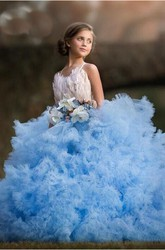 Floral Tulle Spaghetti Sash Bow Appliqued Flower Girl Dress