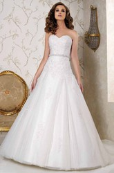 Maxi Sweetheart Appliqued Tulle Wedding Dress With Chapel Train And Backless