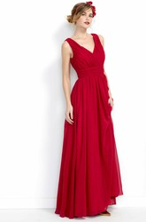 Sheath Maxi V-Neck Draped Chiffon Bridesmaid Dress