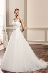 Ball-Gown Sleeveless Appliqued V-Neck Long Tulle Wedding Dress With Illusion Back And Waist Jewellery