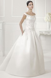 Off Shoulder Drop Waist Satin Bridal Ball Gown With Bow Sash