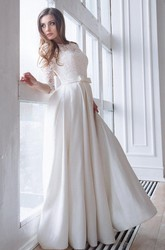 3e096be3 ... Scoop-Neck Lace 3/4 Length Sleeve A-Line Satin Wedding Dress With