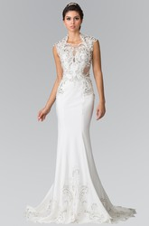 Sheath Floor-Length Cap-Sleeve Jersey Sweep Train Dress With Appliques
