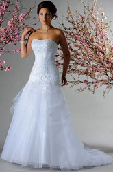 Strapless Applique Pearl Top Bridal Gown With Layered Tulle Skirt