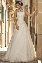 A-Line Sleeveless Scoop-Neck Long Appliqued Satin&Lace Wedding Dress With Beading
