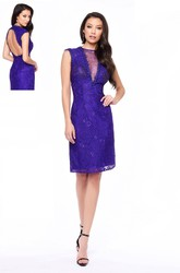 Sheath Knee-Length Jewel-Neck Sleeveless Lace Keyhole Dress