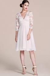 3/4 Sleeve V-neck A-line Lace Chiffon Short Knee-length Wedding Dress