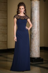 Cap-Sleeved Long Mother Of The Bride Dress With Illusion Beaded Neck