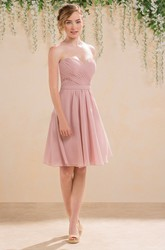 Sweetheart A-Line Short Chiffon Bridesmaid Dress With Lace Detail