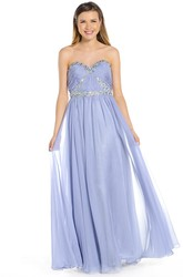Floor-Length Sweetheart Beaded Sleeveless Chiffon Prom Dress